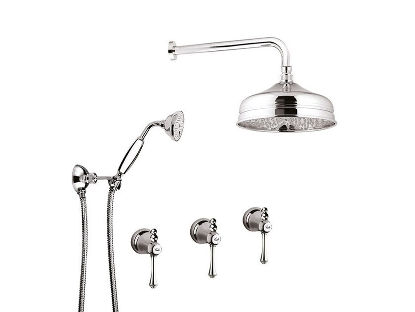 Shower set with overhead shower LONDRA - 7216W2KB by Rubinetteria Giulini