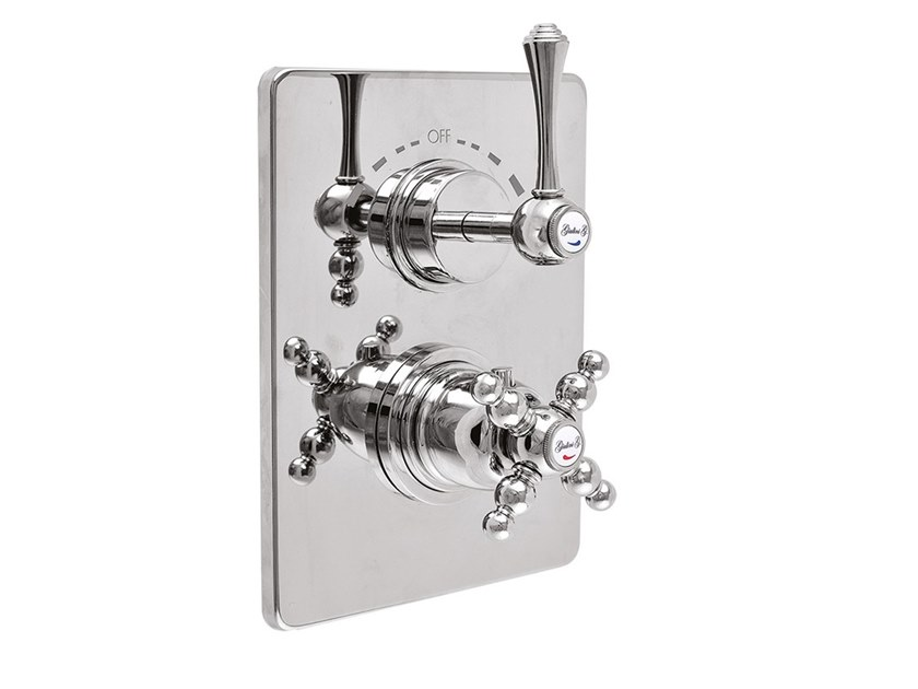 2 hole thermostatic shower mixer with plate LONDRA - 8212-LN by Rubinetteria Giulini