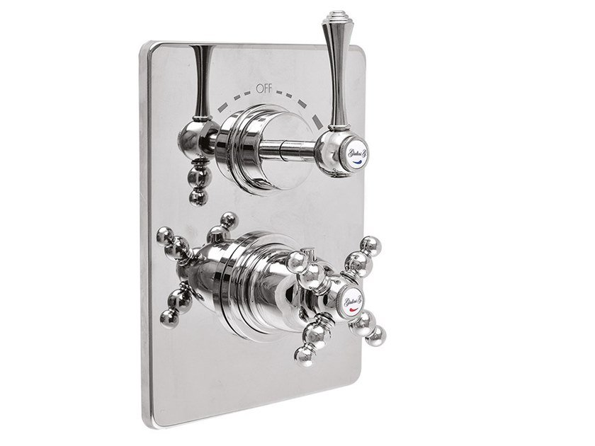 2 hole thermostatic shower mixer with plate LONDRA - 8213-LN by Rubinetteria Giulini