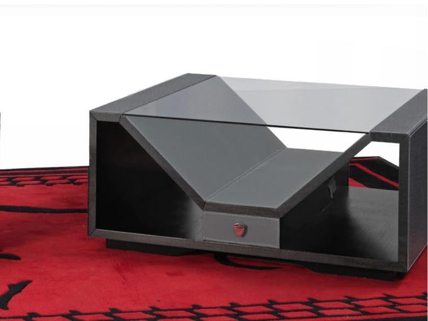 Low square leather coffee table LONG BEACH | Square coffee table by Tonino Lamborghini Casa