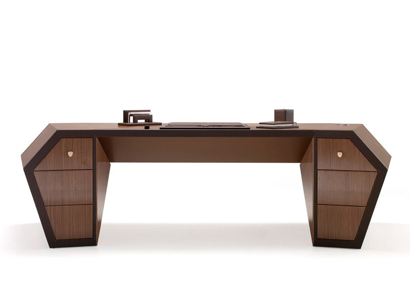 Lacquered Wood Veneer Executive Desk With Drawers Long Beach Office By Tonino