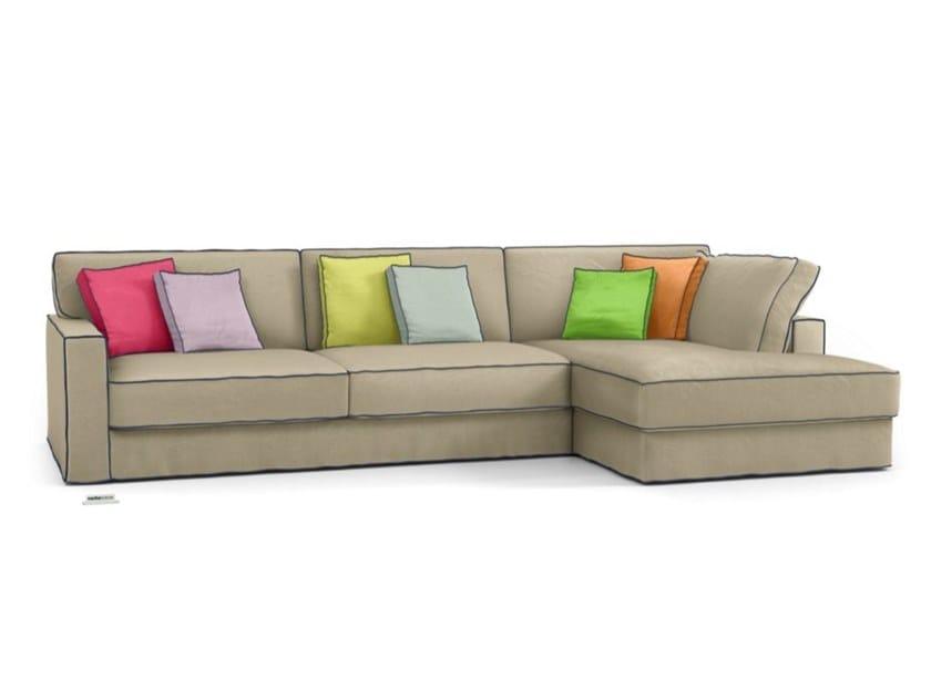 Divano sfoderabile in lino a 3 posti con chaise longue LONG ISLAND   Divano con chaise longue by Roche Bobois