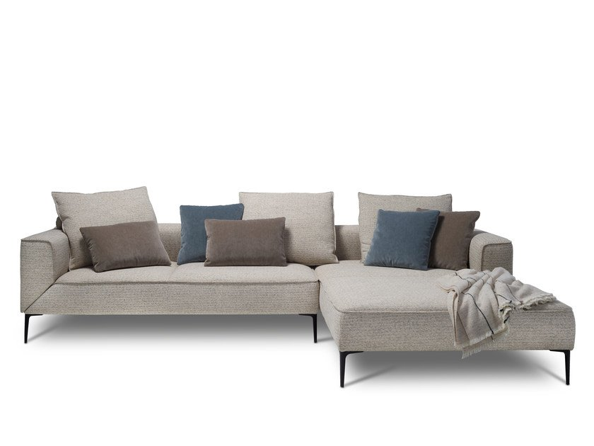 Fabric sofa with chaise longue LONGUEVILLE LANDSCAPE by JORI