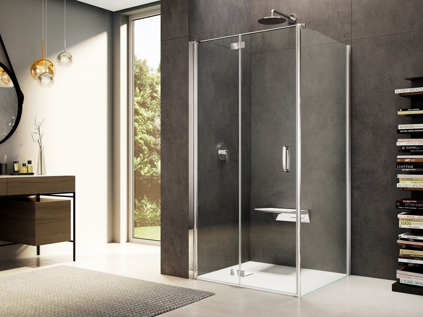 Corner glass shower cabin LOOK FREE LE-2+LW by Provex Industrie