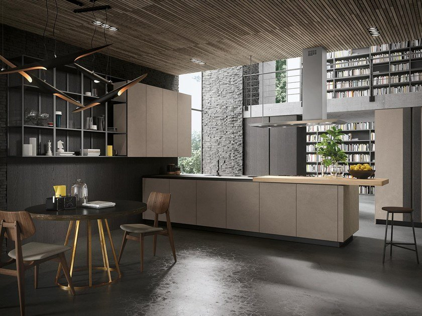 Wooden kitchen with peninsula LOOK | Wooden kitchen by Snaidero
