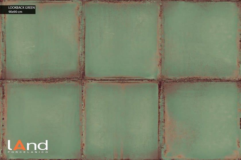 Pavimento/rivestimento in gres porcellanato tecnico effetto metallo LOOKBACK GREEN by Land Porcelanico