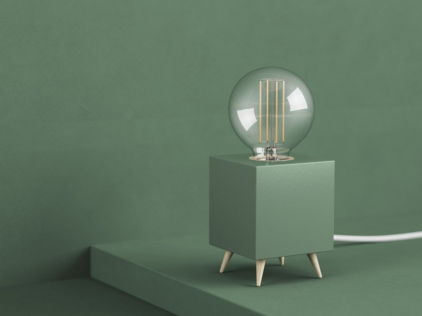 LED table lamp LOOMACUBE CC - DUSTY GREEN by LOOMA