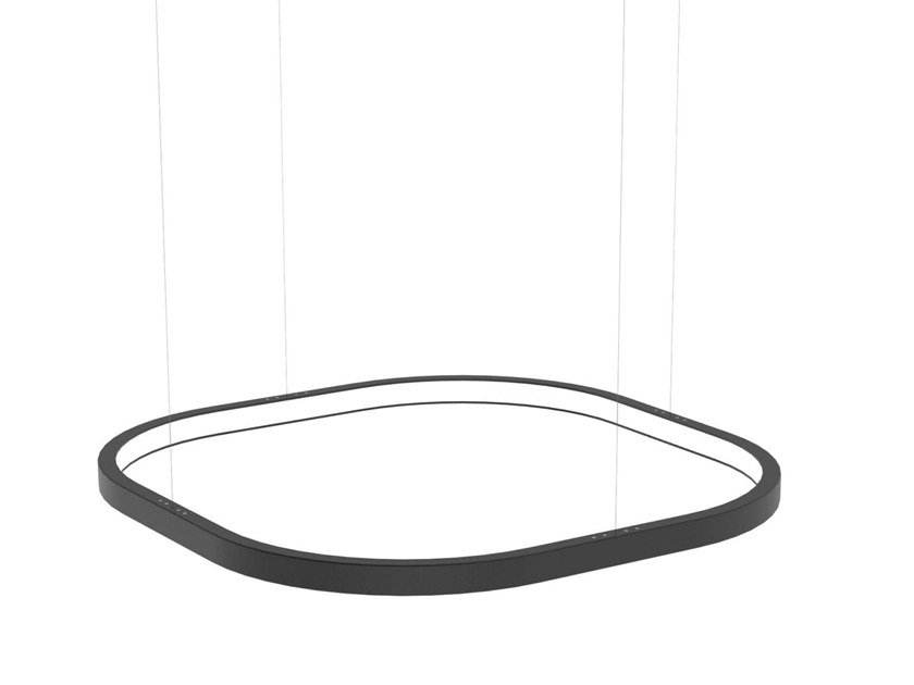 Aluminium pendant lamp with dimmer LOOP SQUARE by Martinelli Luce