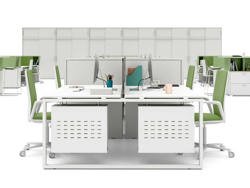 Office workstation with desk screens with shelves LOOPY   Office workstation with desk screens by Bralco