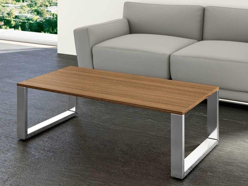Sled base rectangular walnut coffee table LOOPY | Rectangular coffee table by Bralco