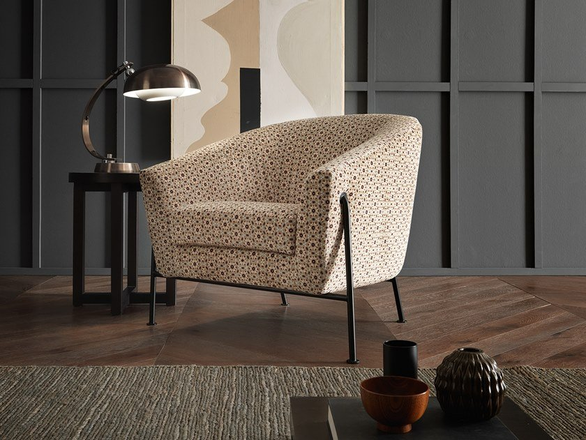 Fabric armchair with armrests LOREN by VALENTINI