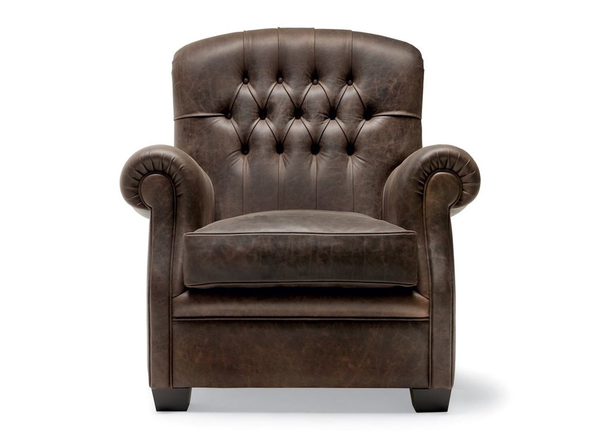 Tufted leather armchair with armrests LORIS by OPERA CONTEMPORARY