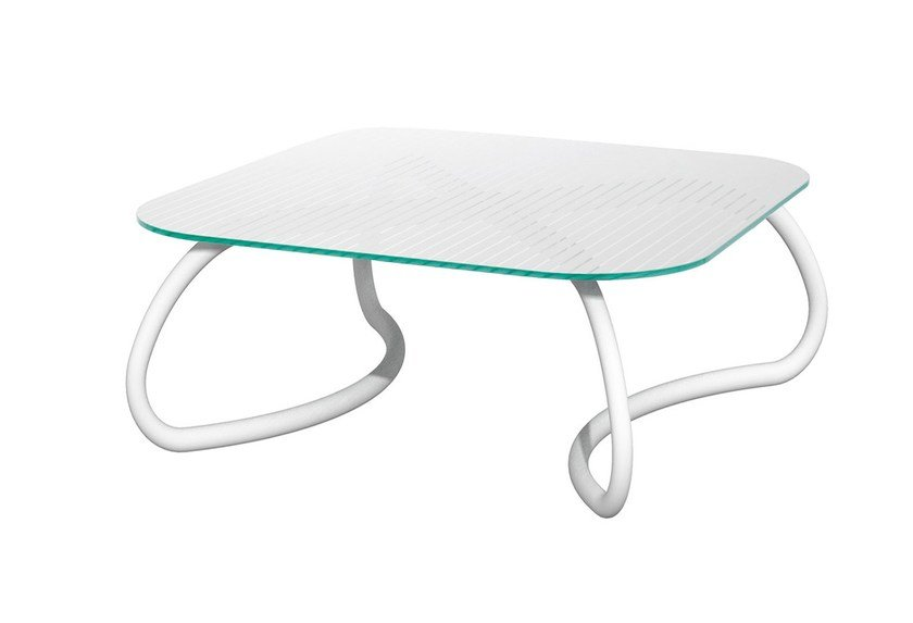 Glass garden side table LOTO RELAX 95 by Nardi