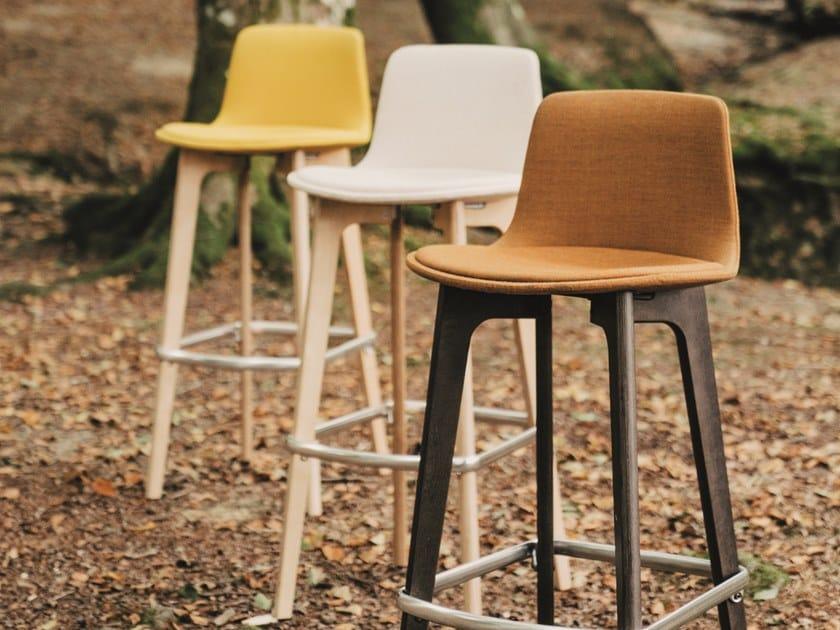 High Fabric Barstool With Back Lottus Wood Stool By Enea