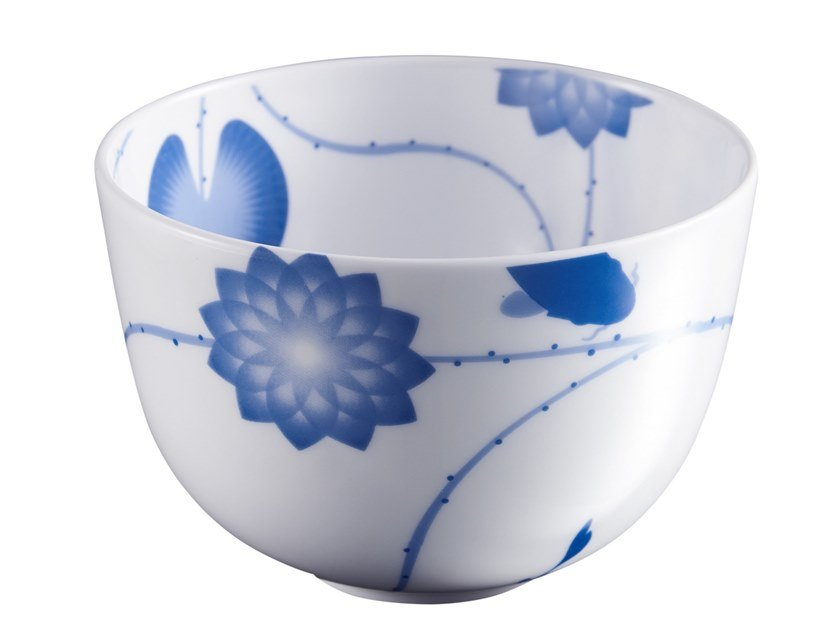 Porcelain serving bowl LOTUS AND FISH | Serving bowl by ZENS Lifestyle