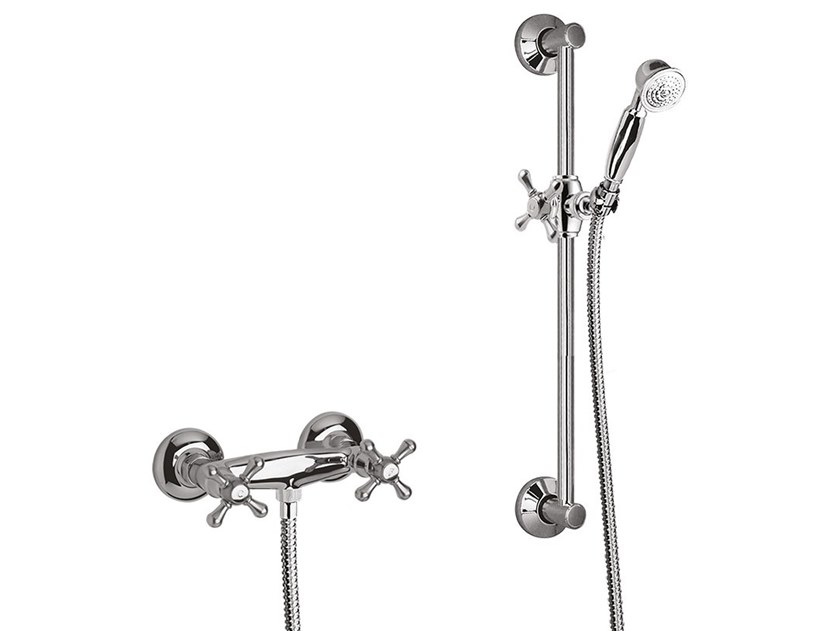 3 hole shower tap with hand shower LOTUS - VIENNA - F0507WS by Rubinetteria Giulini