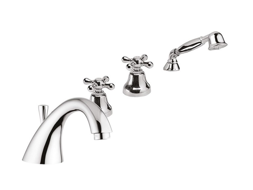 4 hole bathtub set with hand shower LOTUS - VIENNA - F0565 by Rubinetteria Giulini