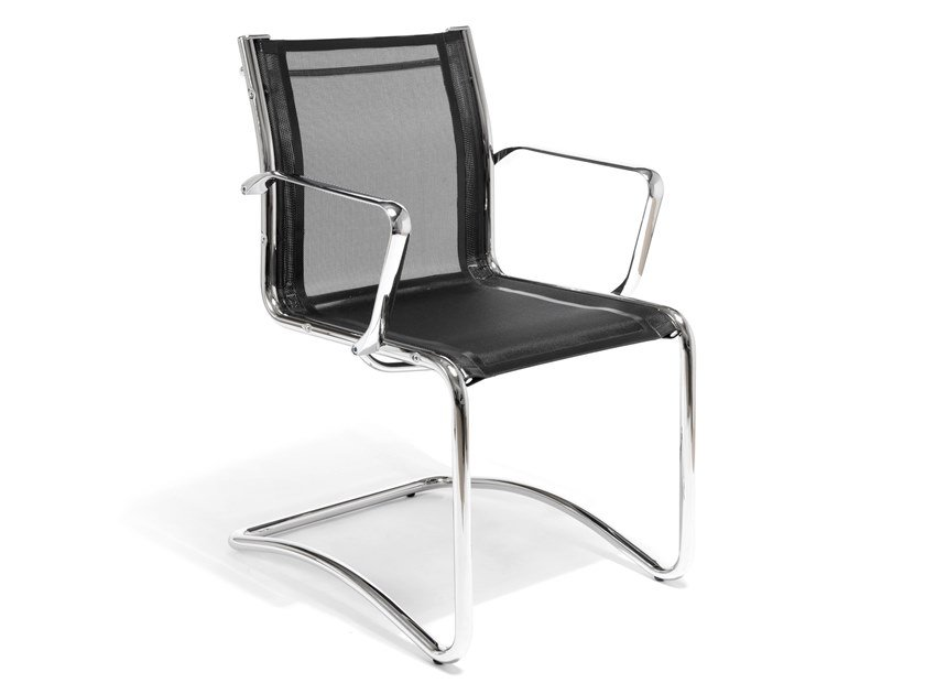 Cantilever mesh chair with armrests LOUISIANA NET | Cantilever chair by AP Factor