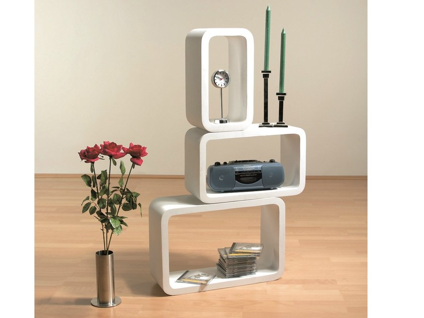 Sectional lacquered modular MDF bookcase LOUNGE CUBE OVAL by KARE-DESIGN
