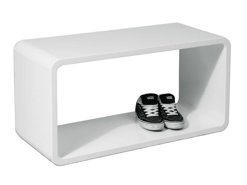 Lacquered MDF side table LOUNGE CUBE WHITE XL by KARE-DESIGN