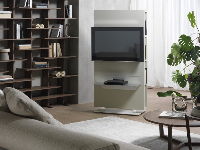 Swivel TV cabinet with shelves LOUNGE | Lacquered TV cabinet by Pacini & Cappellini