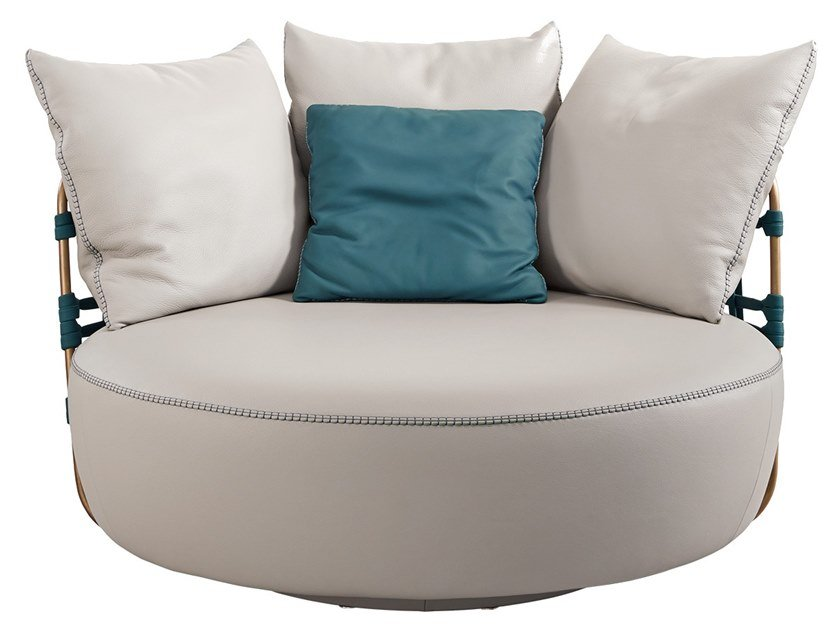 Swivel leather armchair LOVE by Gamma Arredamenti