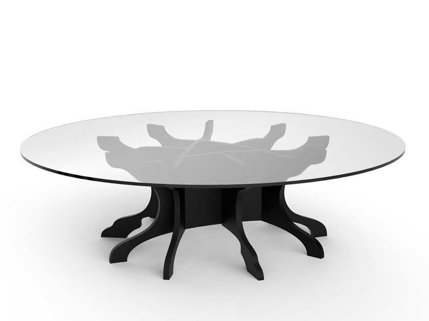 Low round birch coffee table TALE   Low coffee table by ALBEDO