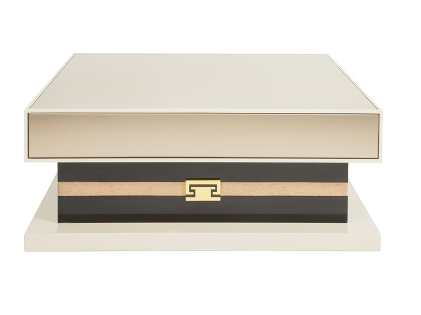 Low lacquered wooden coffee table with storage space SUBLIME | Low coffee table by Stylish Club