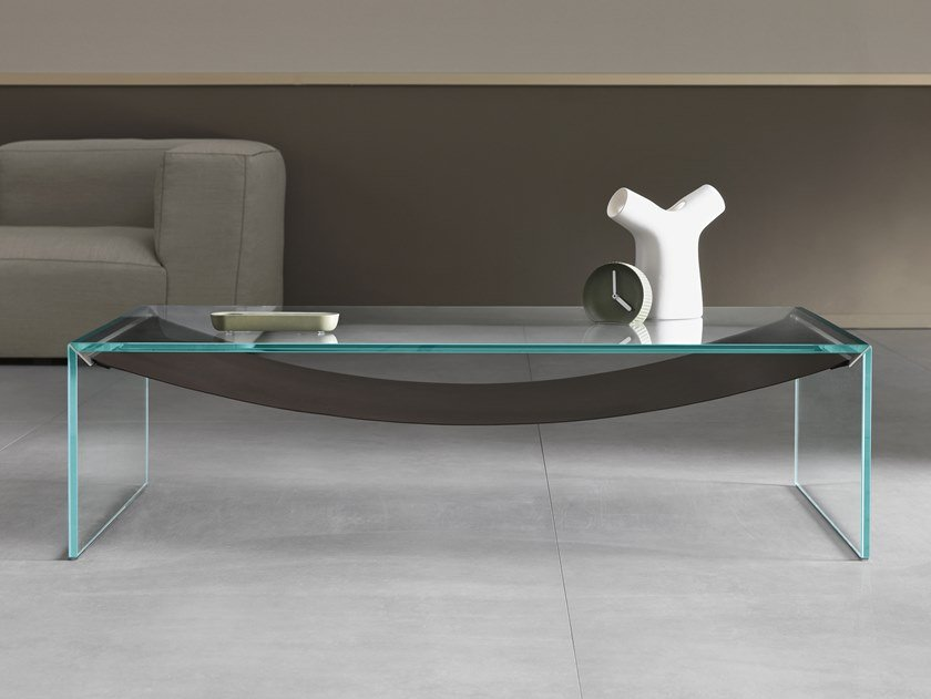 Low glass coffee table for living room AMACA | Low coffee table by Tonelli Design