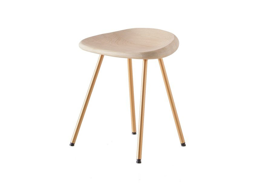 Low steel and wood stool PEBBLE   Low stool by BassamFellows