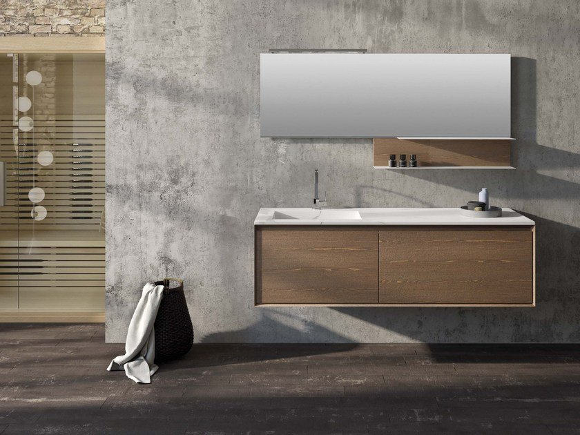 Wall-mounted elm vanity unit LU.52 by Mobiltesino