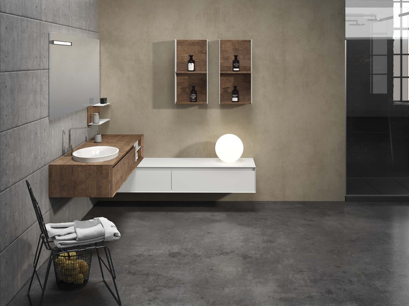 Corner oak vanity unit LU.54 by Mobiltesino