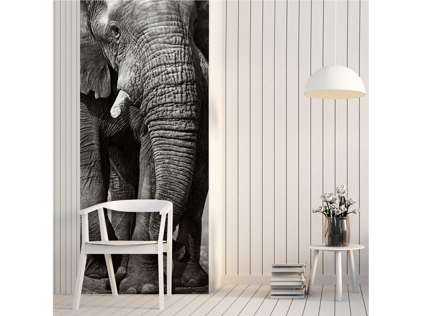 Washable non-woven paper wallpaper strip LU-ELEPHANT by LGD01
