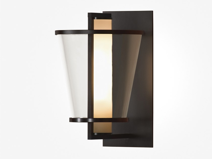 Direct light glass and steel wall light LU by Kevin Reilly Collection