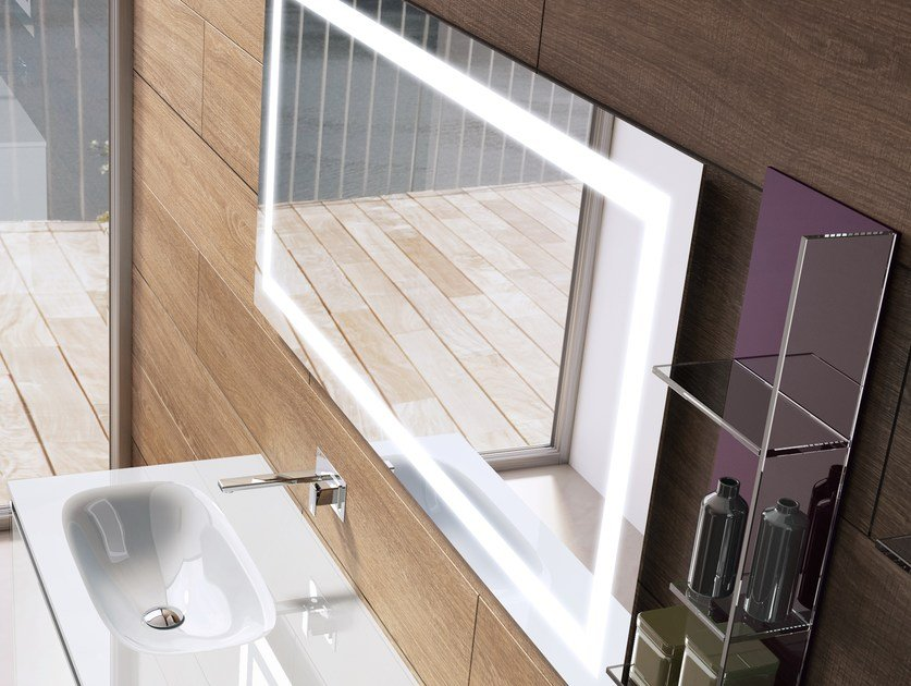 Wall-mounted mirror with integrated lighting LUCE by Q'in