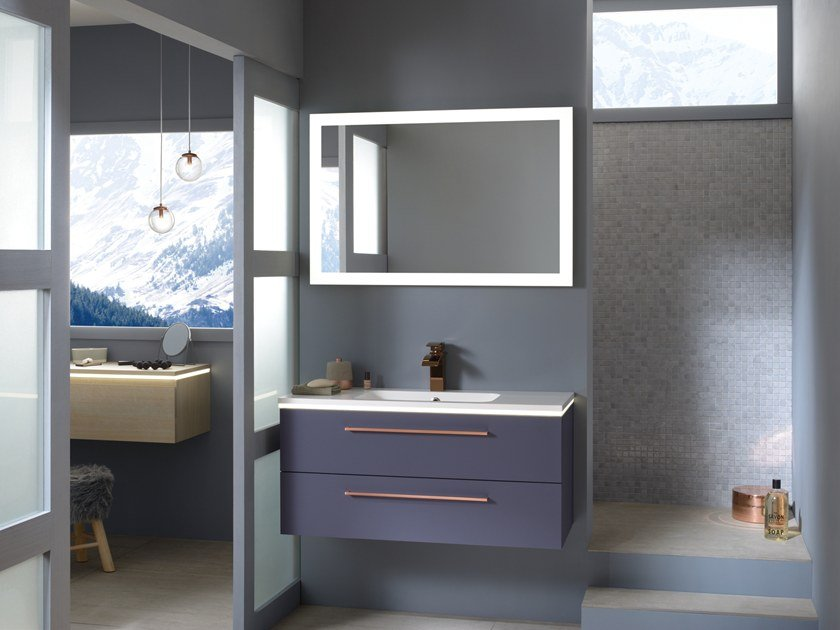Lacquered wall-mounted vanity unit with drawers LUCIOLE by SANIJURA