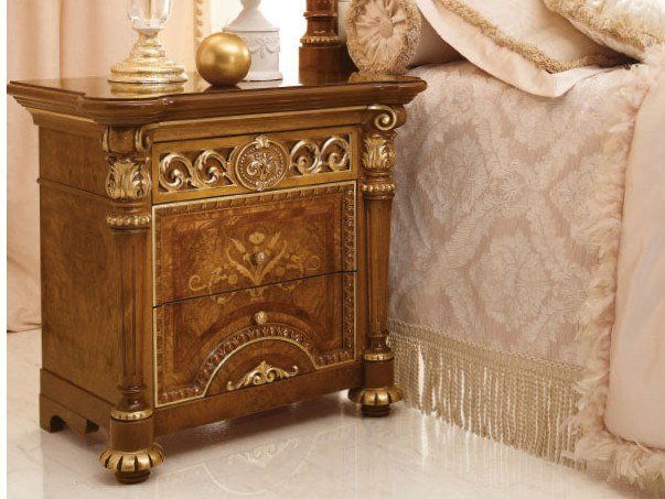Lacquered rectangular bedside table with drawers LUIGI XVI   Bedside table by Valderamobili