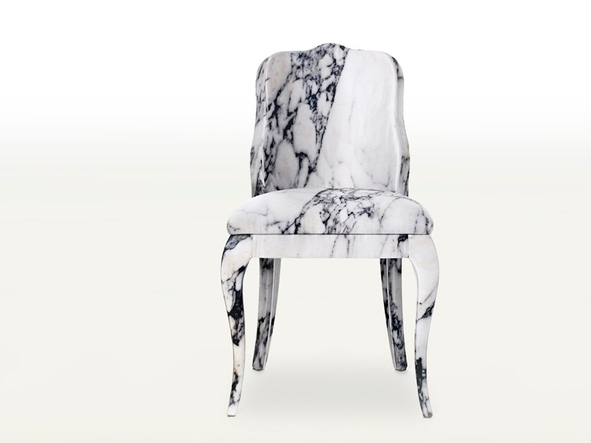 Upholstered fabric chair with integrated cushion LUIGINA by BALERI ITALIA