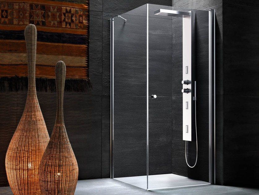 Corner Shower Cabin With Hinged Door LULA UW+UL By Glass1989