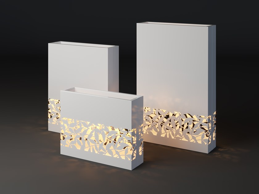 High metal planter with light LUMI GRIN STRIP by Laubo