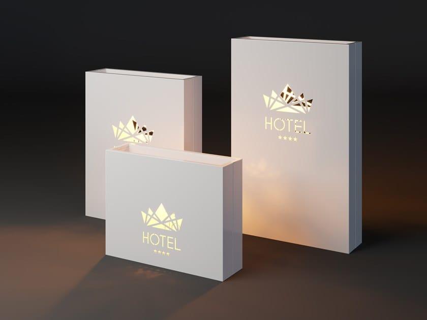 High metal planter with light LUMI LOGO by Laubo