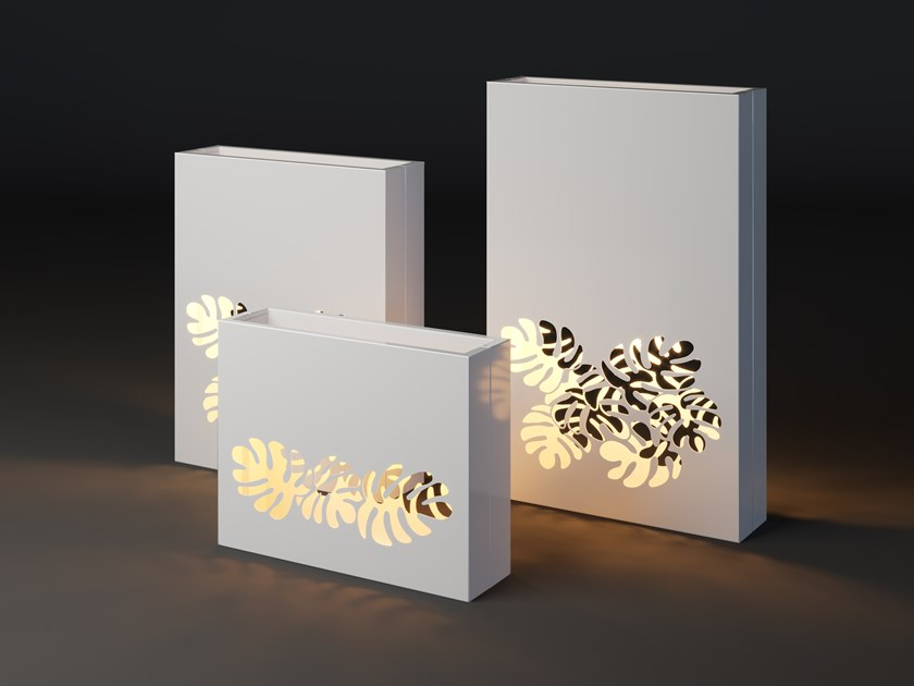 High metal planter with light LUMI MONSTERA by Laubo
