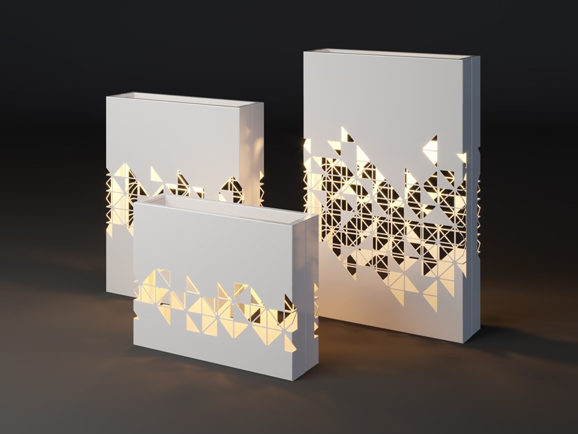 High metal planter with light LUMI MOSAIC by Laubo
