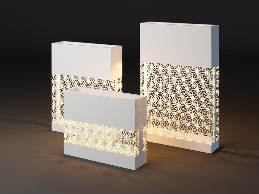 High metal planter with light LUMI STAR by Laubo