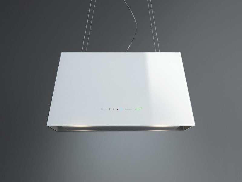 Glass cooker hood with bipolar controlled ionization LUMIÈRE E.ION by Falmec