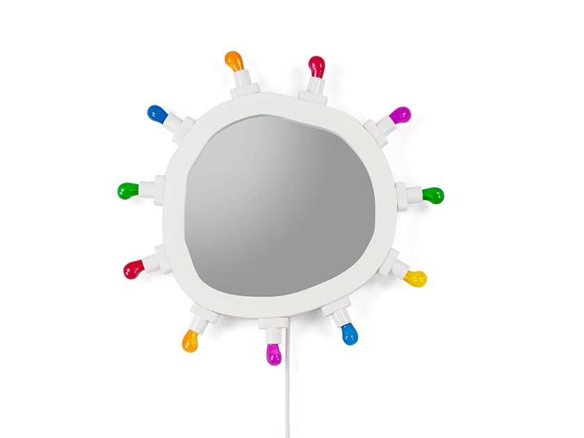 Specchio con illuminazione integrata da parete LUMINAIRE SMALL by Seletti