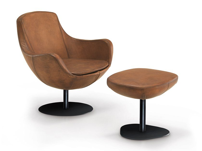 Swivel leather easy chair with armrests LUNA | Easy chair by Oliver B.
