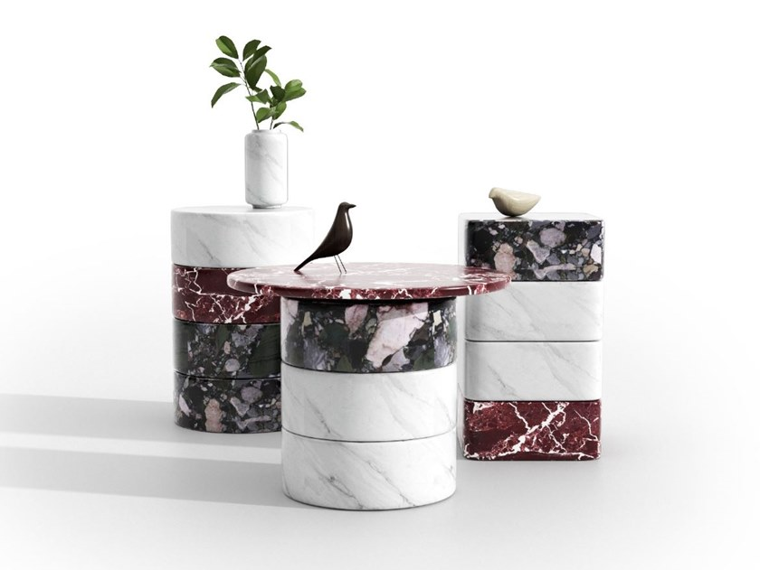 Tavolino modulare in marmo LUNA by ENNE