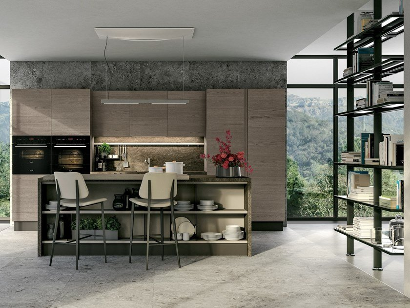 Fitted kitchen with island LUNA | Kitchen by Cucine Lube
