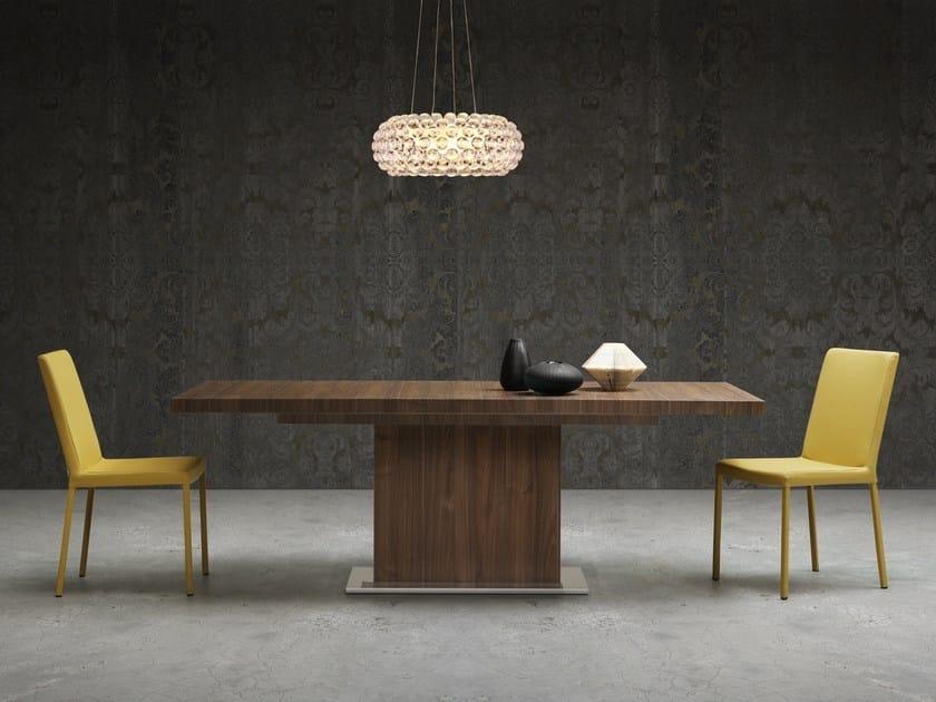 Extending rectangular wooden table LUNA by Natisa